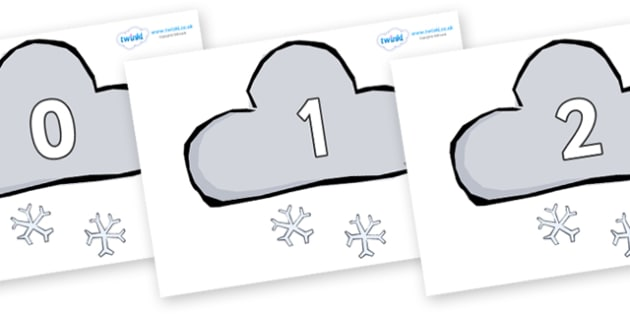 Numbers 0-50 on Weather Symbols (Snow) - 0-50, foundation stage numeracy, Number recognition, Number flashcards, counting, number frieze, Display numbers, number posters