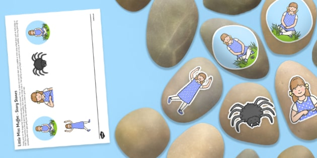 Little Miss Muffet Story Stone Image Cut-Outs - Story stones, stone art, painted rocks, Nursery Rhymes, song