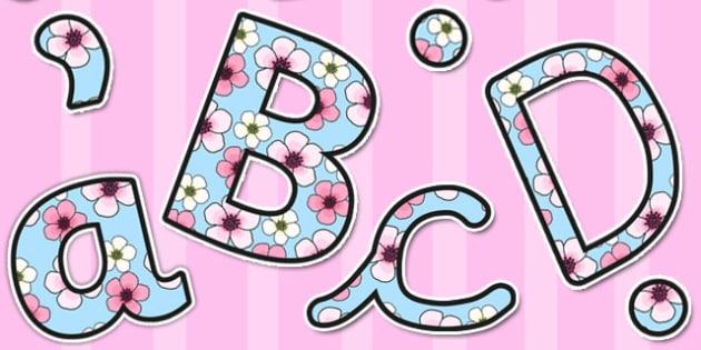 Pink Blossom Themed A4 Display Lettering - letters, displays
