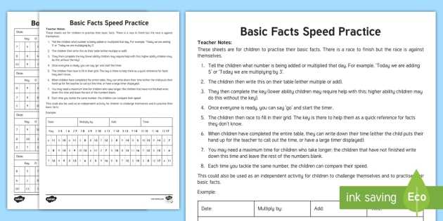 Basic Facts Speed Practise Activity Sheet - Maths Games, basic facts, speed tables, speed, calculations, addition, multiplication, worksheet, su