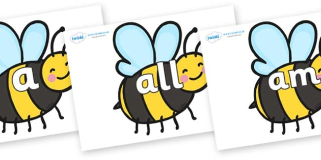 Foundation Stage 2 Keywords on Bees - FS2, CLL, keywords, Communication language and literacy,  Display, Key words, high frequency words, foundation stage literacy, DfES Letters and Sounds, Letters and Sounds, spelling