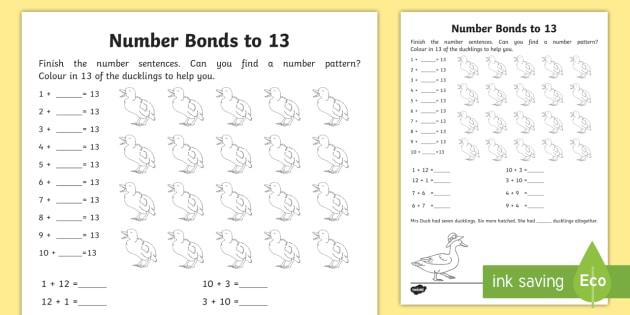 Number Bonds Within 20 Bonds To 13 Worksheet Worksheet