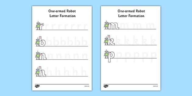 One Armed Robot Letter Formation Worksheet / Activity Sheet - one armed robot, letter formation, worksheet