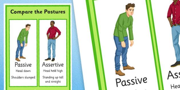 KS3 Compare The Postures Passive vs Assertive - SEN, support, behaviour, relationships, secondary, activity, PSHE, emotions, caring, understanding