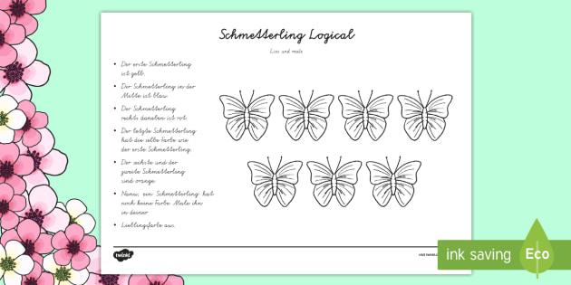 Schmetterling Logical Arbeitsblatt - Frühling, Aufgaben