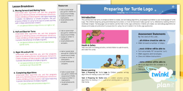 Computing: Preparing for Turtle Logo Year 2 Planning Overview