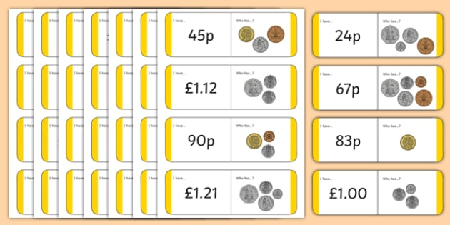 British (UK) Coin Value Loop Cards - coin loop, money loop cards,