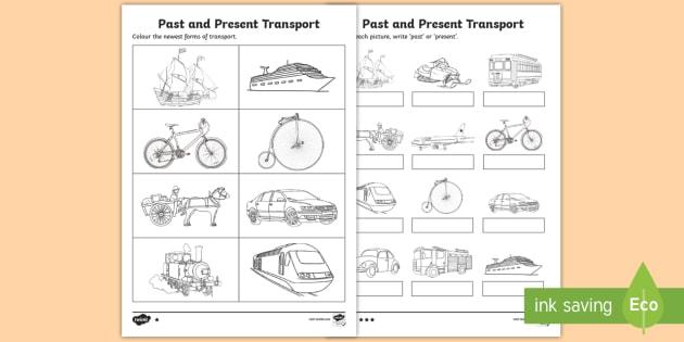 past and present transport worksheet worksheet achassk046 history. Black Bedroom Furniture Sets. Home Design Ideas