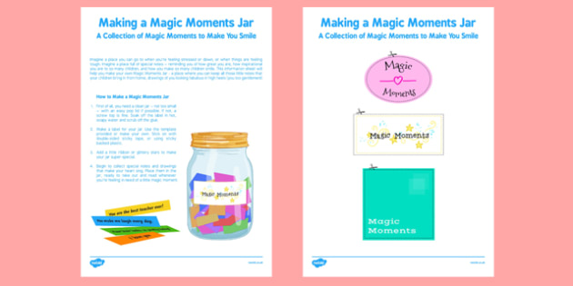 Making a Magic Moments Jar Activity - making, magic, moments, jar, activity
