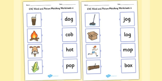 CVC Word and Picture Matching Worksheets o - cvc, matching, o