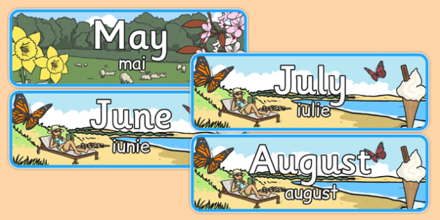 Months of the Year With Seasons Theme Display Posters Romanian Translation - romanian, months, year