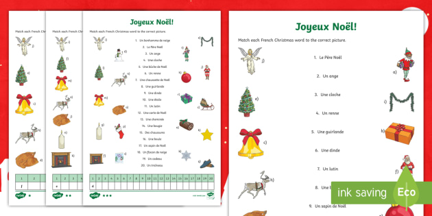 christmas vocabulary matching differentiated worksheet worksheet french. Black Bedroom Furniture Sets. Home Design Ideas