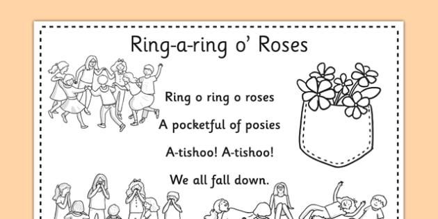 Ring-a-ring O' Roses Colouring in Sheet - nursery rhyme, roses