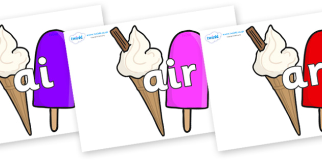 Phase 3 Phonemes on Ice Cream and Lollies - Phonemes, phoneme, Phase 3, Phase three, Foundation, Literacy, Letters and Sounds, DfES, display