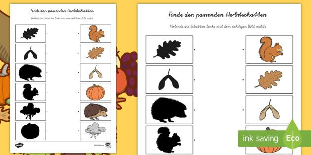 Finde den Herbstschatten Arbeitsblatt - Herbst, herbstlich