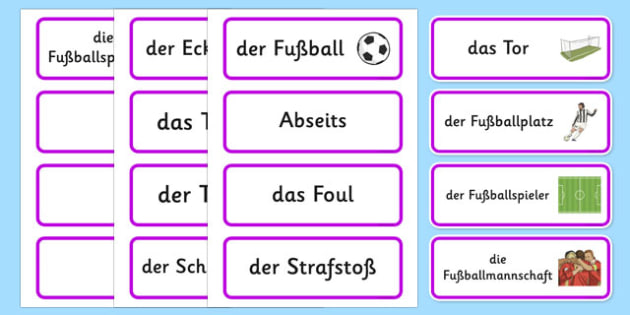 Wort- und Bildkarten: Thema Fußball - german, Fußball, Olympische Spiele, Sport, Football, Olympics, Olympic Games, sports, Olympic, London, 2012, word card, flashcards, cards, activity, Olympic torch, events, flag, countries, medal, Olympic Rings, m