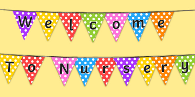 Welcome to Nursery Bunting - bunting, welcome, nursery, welcome to nursery, welcome bunting, nursery bunting, welcome nursery, display bunting, display