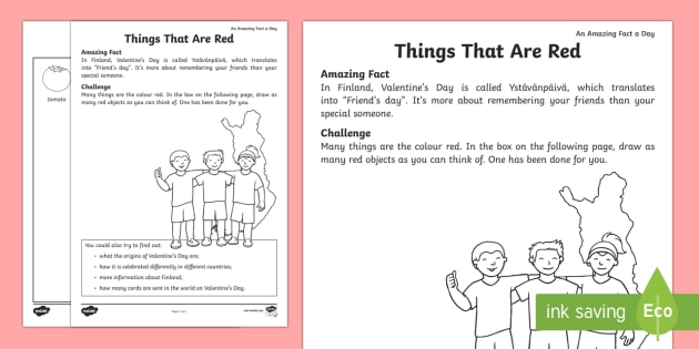 Things That Are Red Worksheet Activity Sheet Amazing Fact Of