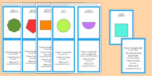 2D Shape What Am I? Game Romanian Translation - romanian, 2D shapes, circle, semi-circle, triangle, square, rectangle, pentagon, hexagon, octagon