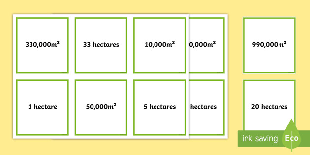 M² and Hectares Matching Cards (teacher made)