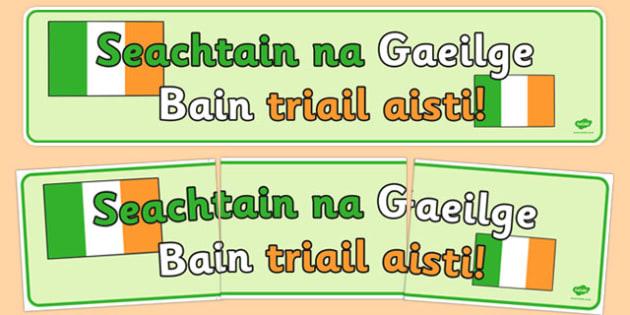 Seachtain na Gaeilge Banner - Seachtain na Gaeilge, Irish language, speaking, action week, banner, display