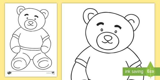 Teddy Bear Coloring Page - Key Stage One, KS1, EYFS, Winnie ...