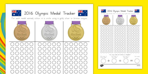 Australian Olympic Medal Count and Add Worksheet / Activity Sheet-Australia, worksheet