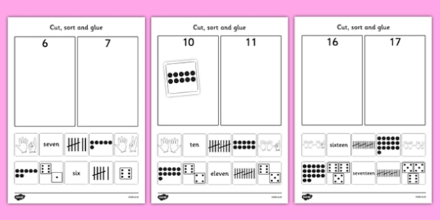 Cut and Stick Number Sort Worksheet / Activity Sheets - fine