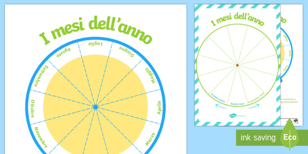 Sequenza Dei Mesi Dell Anno Girla La Ruota Attivita Calendario