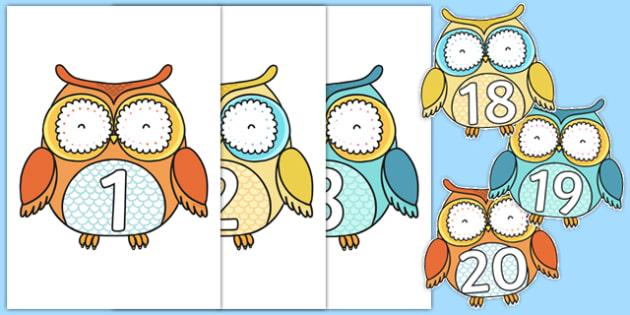 1-20 on Cute Owls - 1-20, cute owls, cute, owls, display, numbers, 1, 20
