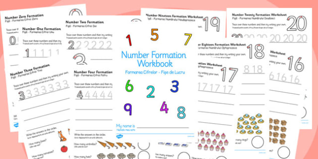 Number Formation Workbook 0-20 Romanian Translation - romanian, overwriting