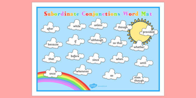 Cloud Themed Subordinate Conjunctions Word Mat - Connectives