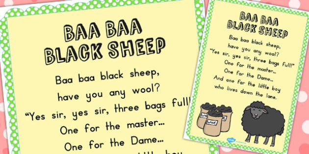 Baa Baa Black Sheep Nursery Rhyme Poster - display, nursery