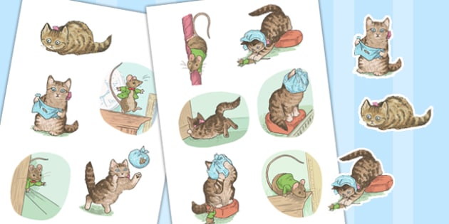 The Story of Miss Moppet Story Cut Outs - beatrix potter, paper, cutting, display, drama, role play, acting, retell, ks1, key stage 1, fun