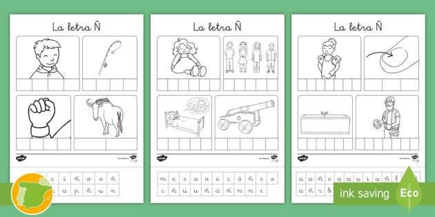 Ficha De Recortar Y Pegar: La Letra Ñ