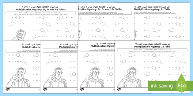 Multiplication Tables Missing Numbers Worksheet / Activity Sheet Arabic/English