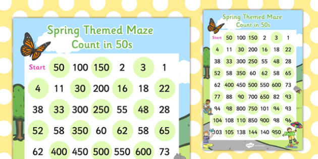 counting in 50s maze worksheet activity sheet counting activity sheet. Black Bedroom Furniture Sets. Home Design Ideas