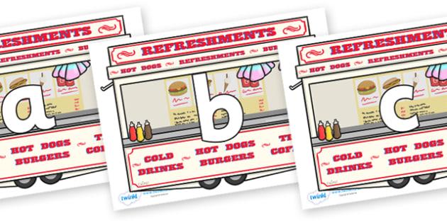 Phoneme Set on Fairground Food Vans - Phoneme set, phonemes, phoneme, Letters and Sounds, DfES, display, Phase 1, Phase 2, Phase 3, Phase 5, Foundation, Literacy