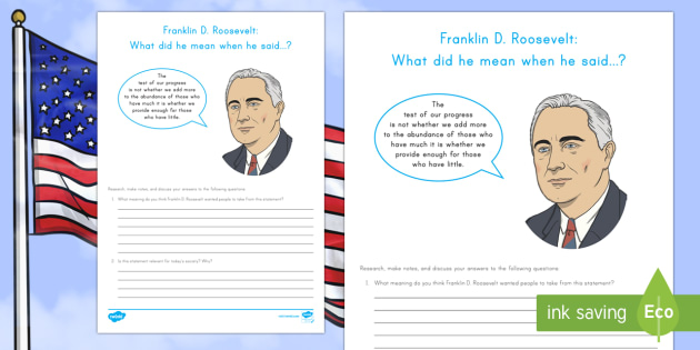 Franklin D. Roosevelt: What did he mean? Research and Discussion Activity Sheet - American Presidents, American History, Social Studies, Barack Obama, Lyndon B. Johnson, Franklin D.