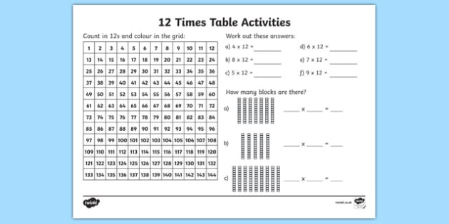 12 Times Table Worksheet Activity Sheet 12 Times Table