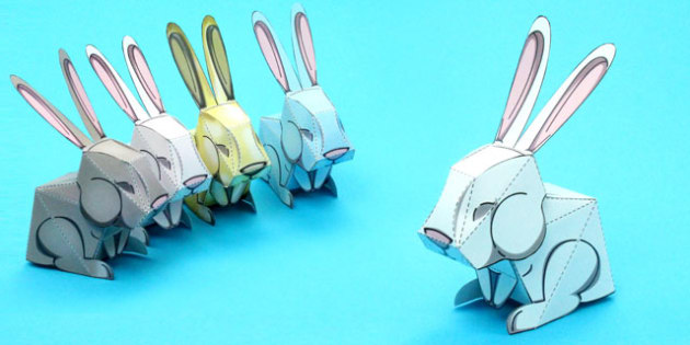 Easter Bunny Rabbit Paper Model Easter Bunny Rabbit Craft