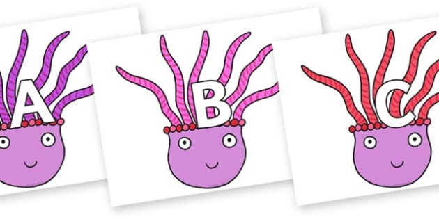 A-Z Alphabet on Anemone to Support Teaching on Sharing a Shell - A-Z, A4, display, Alphabet frieze, Display letters, Letter posters, A-Z letters, Alphabet flashcards