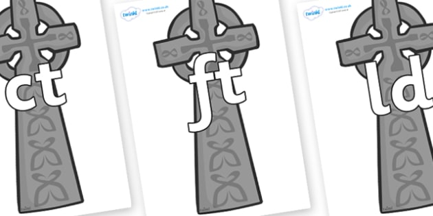 Final Letter Blends on Celtic Crosses - Final Letters, final letter, letter blend, letter blends, consonant, consonants, digraph, trigraph, literacy, alphabet, letters, foundation stage literacy