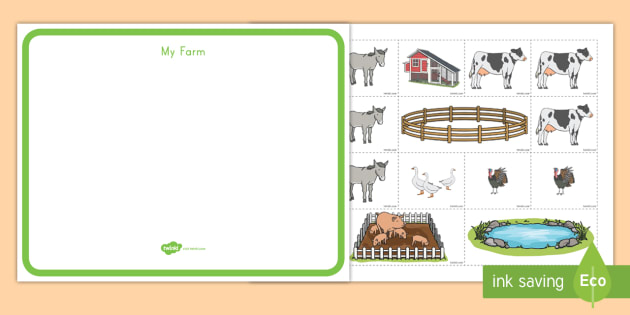 Farm Map Cut and Paste Activity - farm, animals, cut and ... Map Of My Farm on map or, drawing of my, timeline of my, time of my,