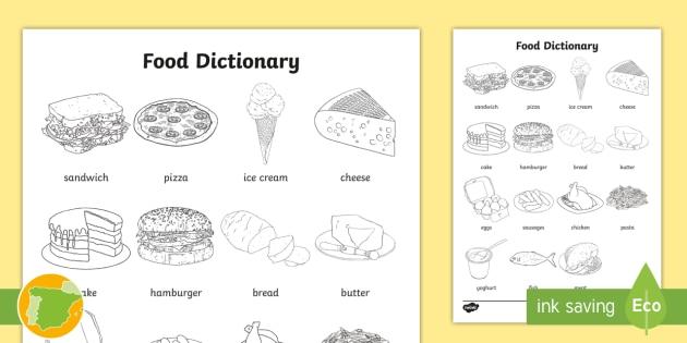 A1 Diccionario Para Colorear La Comida En Inglés English Colouring