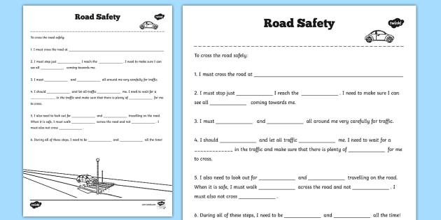 Road Safety Worksheet