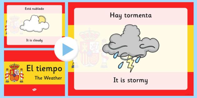 Spanish Weather PowerPoint - spanish, Weather, Rain, Shine, spain