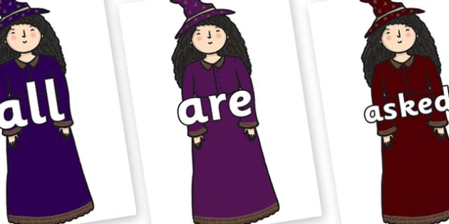 Tricky Words on Witches - Tricky words, DfES Letters and Sounds, Letters and sounds, display, words