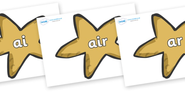 Phase 3 Phonemes on Starfish - Phonemes, phoneme, Phase 3, Phase three, Foundation, Literacy, Letters and Sounds, DfES, display