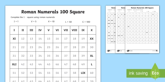 Roman Numerals Fill In The Number Square Worksheet  Roman